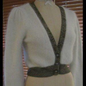 FREE PEOPLE White Angora Cardigan Sweater Medium